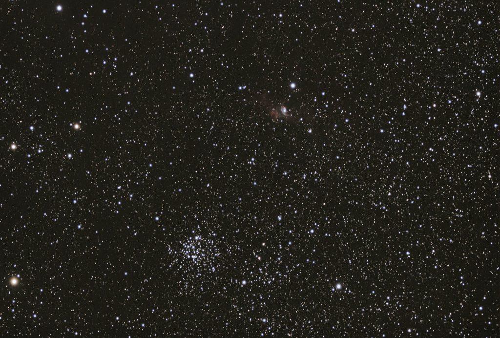 Mgławica Bąbel (NGC 7635) i gromada M52 (NGC 7654)