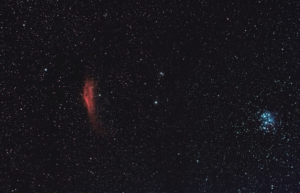 Mgławica Kalifornia (NGC 1499)  i Plejady M45