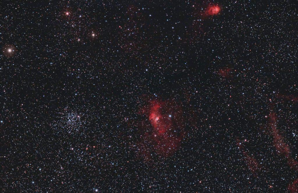 Mgławica Bąbel (NGC 7635) i gromada M52 (NGC 7654), NGC 7538