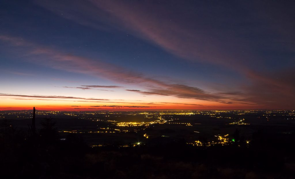 Niebo z Biskupiej Kopy, widok w stronę Nysy