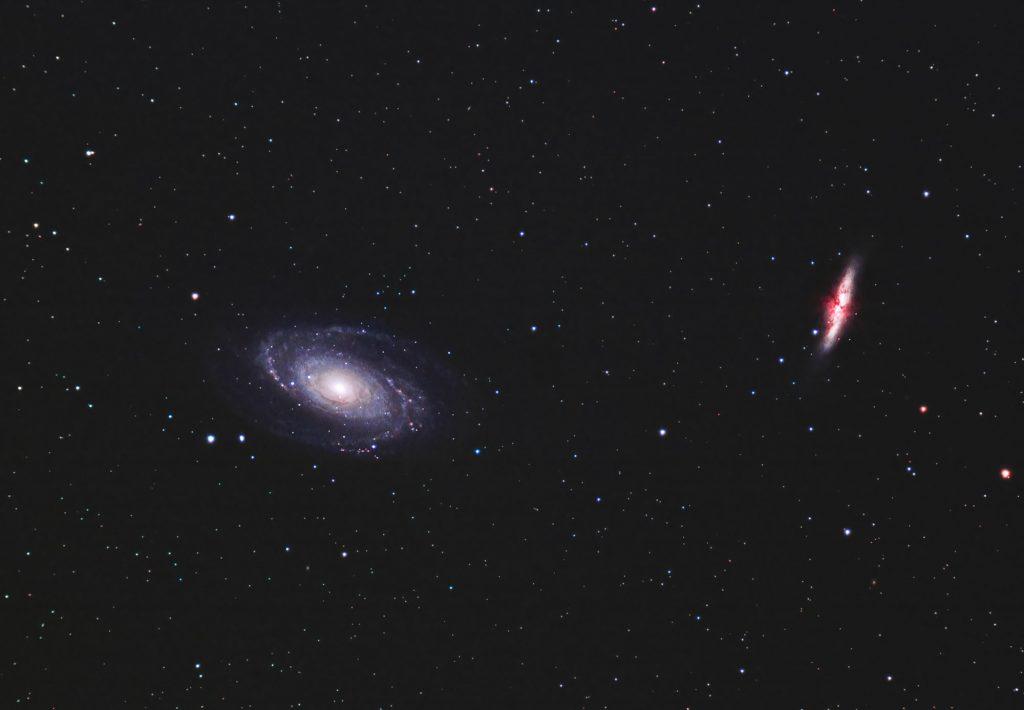 Galaktyki Cygaro M82 oraz Bodego M81