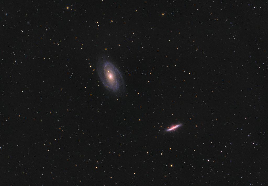 Galaktyka Cygaro (M82) oraz Galaktyka Bodego (M81)