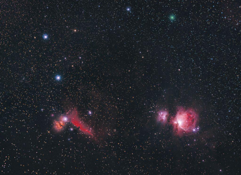 Kometa C/2020 M3 (ATLAS) w gwiazdozbiorze Oriona