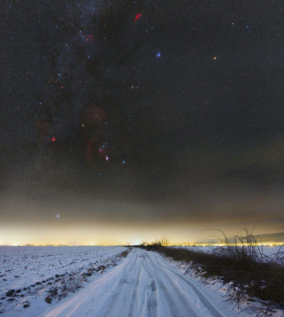 Pierwsza fotka 2021, gwiazdozbiór Oriona i okolice
